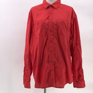 Old Navy slim fit mens button up shirt sz XXL red